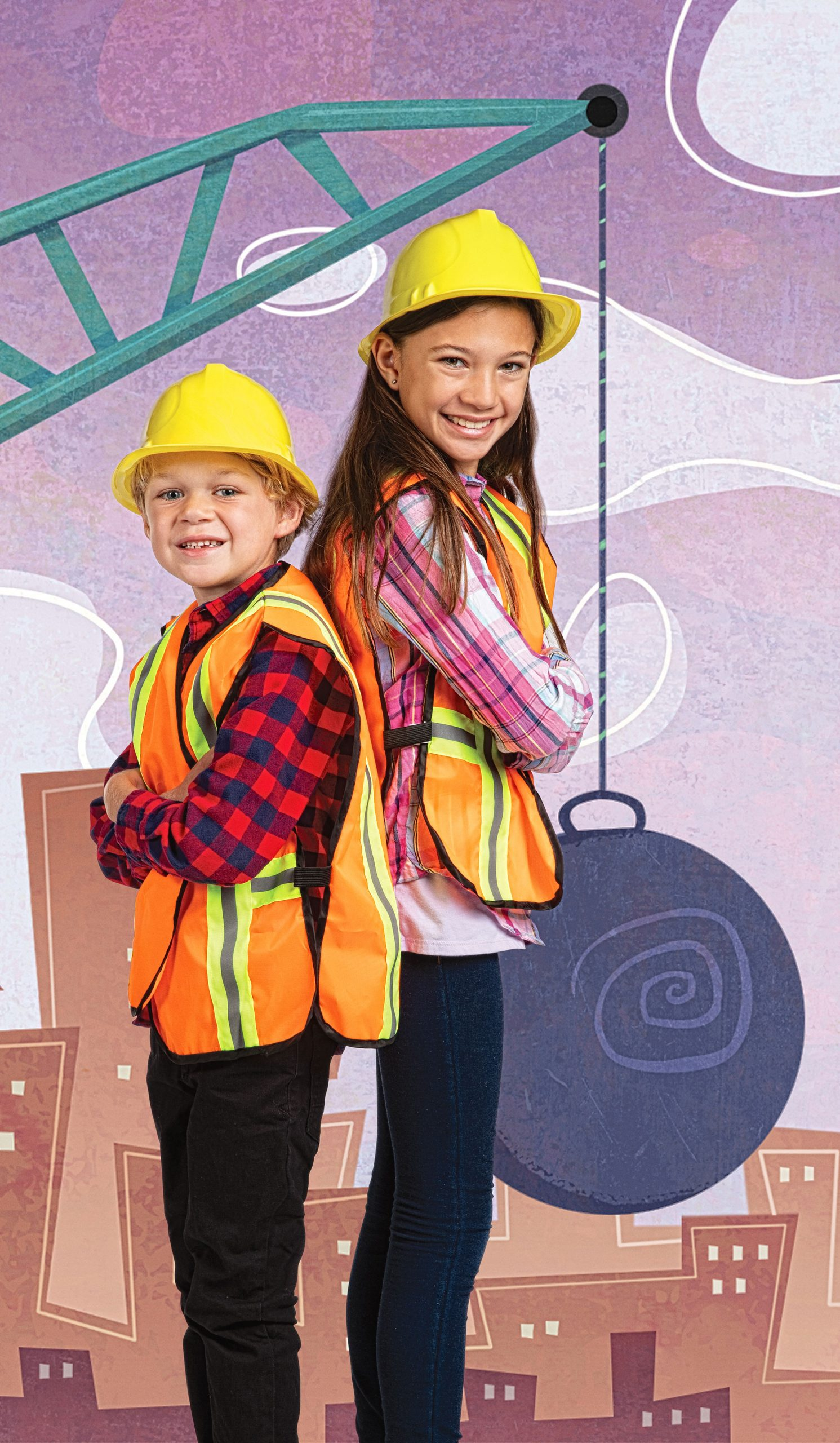 Kids Photoshopped into cartoon construction background by ODonnell Photograf